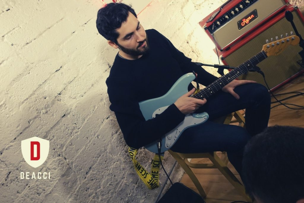 Ariel Posen at Deacci Custom Pickups HQ